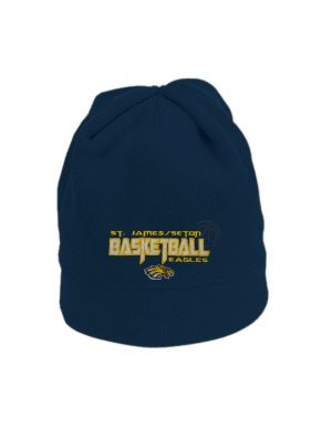 NAVY FLEECE CAP W/SJS BASKETBALL EMBROIDERED LOGO